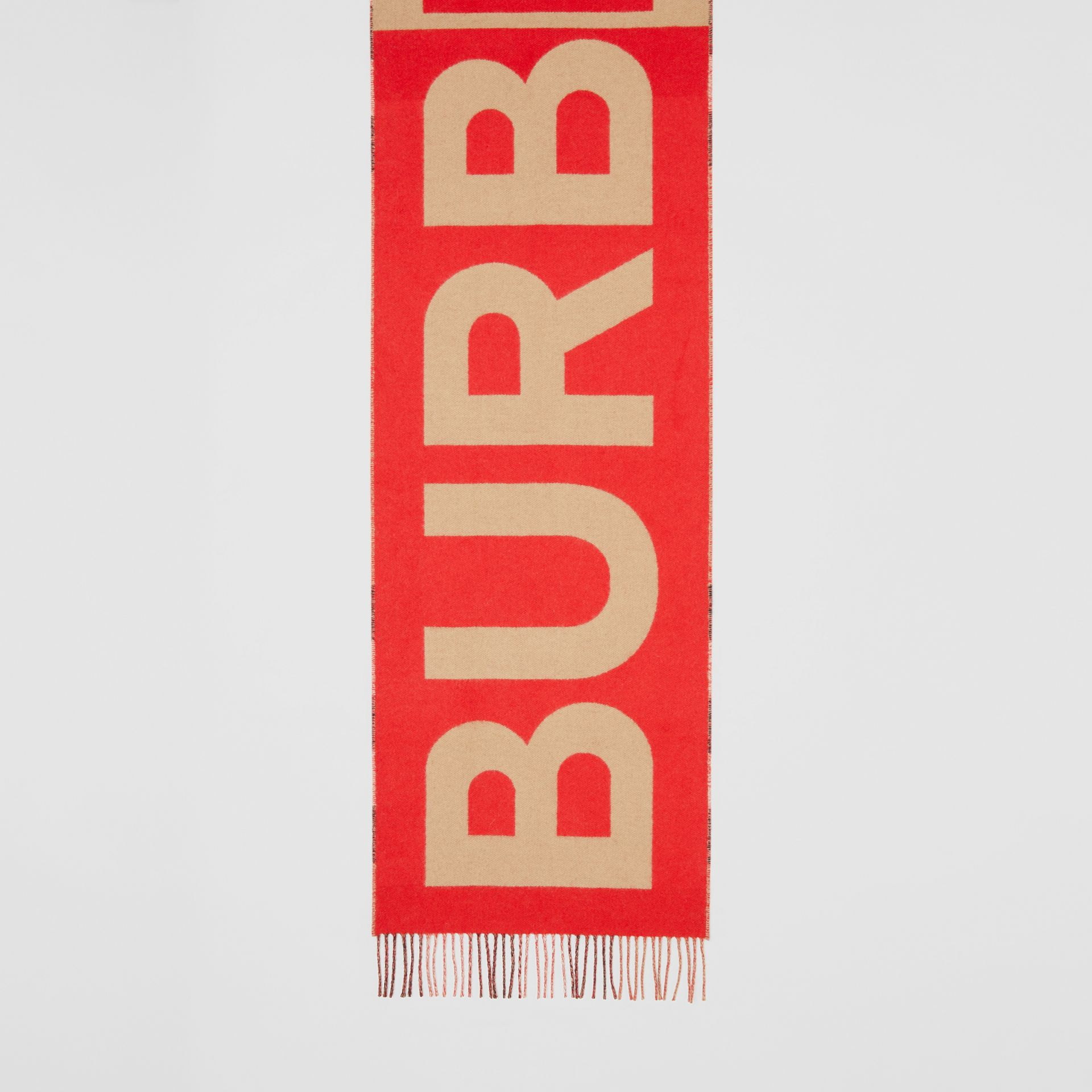 Reversible Check and Logo Cashmere Scarf in Archive Beige | Burberry - gallery image 4
