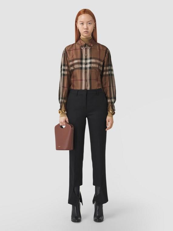 Check Silk Twill Shirt (Birch Brown)