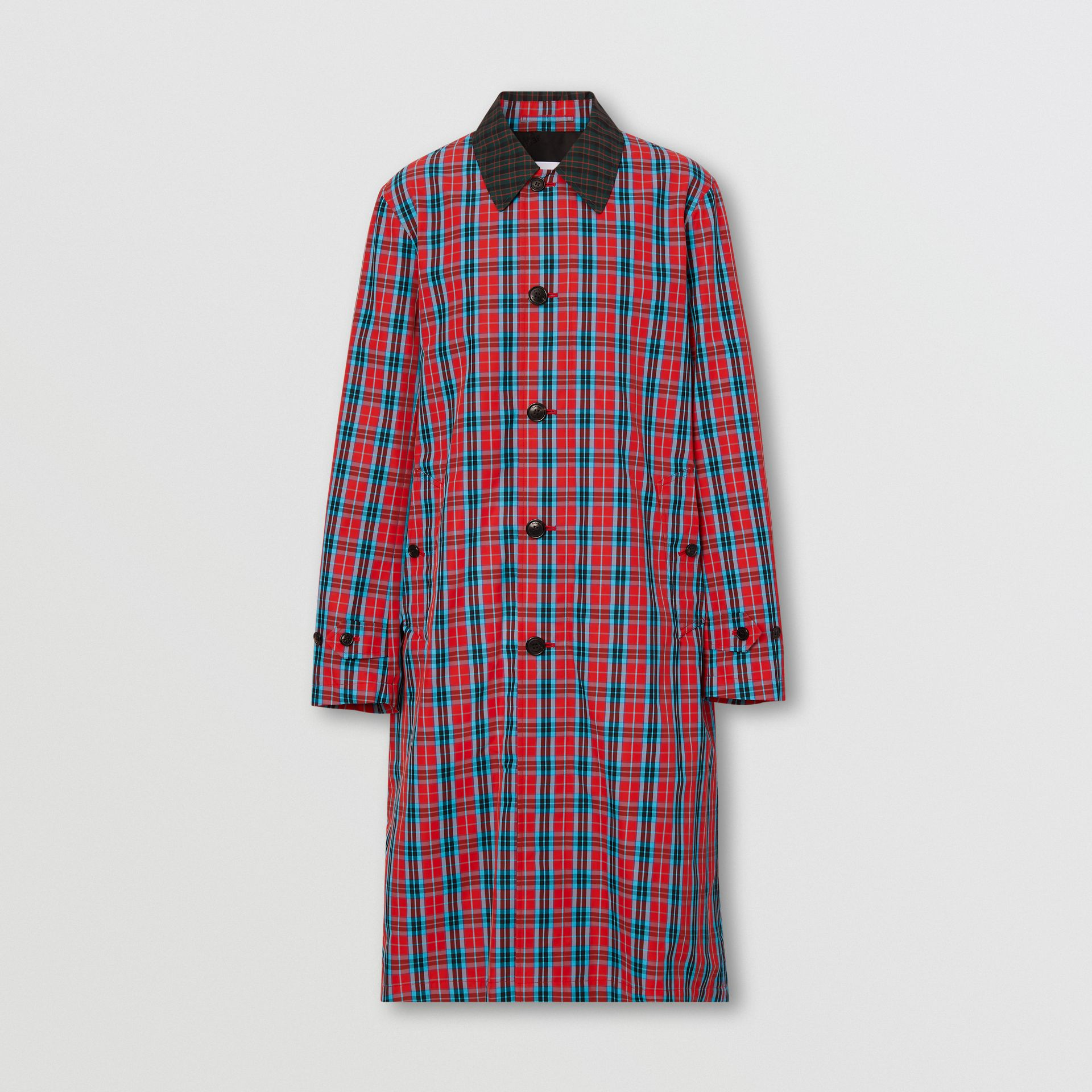 Contrast Collar Check Nylon Twill Car Coat in Red - Men | Burberry - gallery image 3