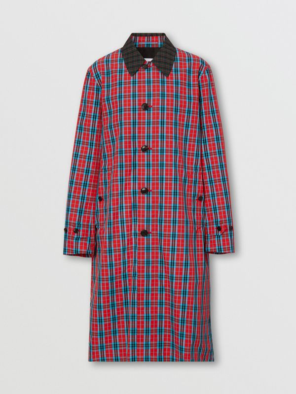 Contrast Collar Check Nylon Twill Car Coat in Red - Men | Burberry - cell image 3