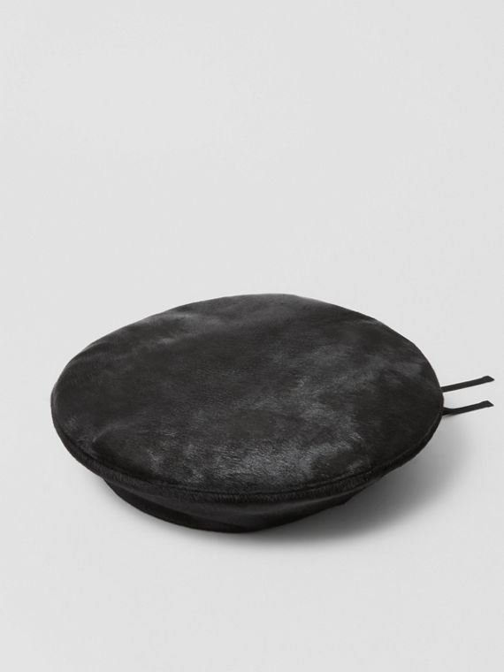 Calf Hair Oversized Beret in Black