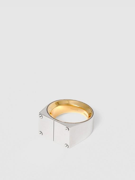 Palladium-plated Signet Ring in Palladium/dark Brass