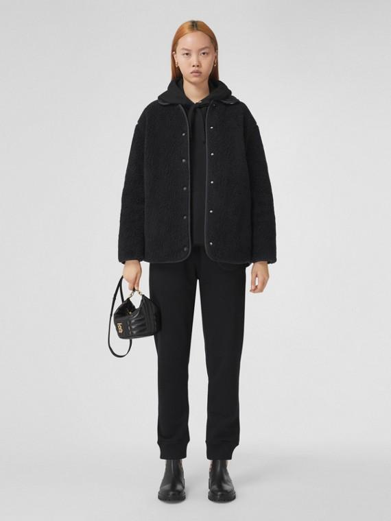 Wool Cashmere Blend Fleece Jacket in Navy Black