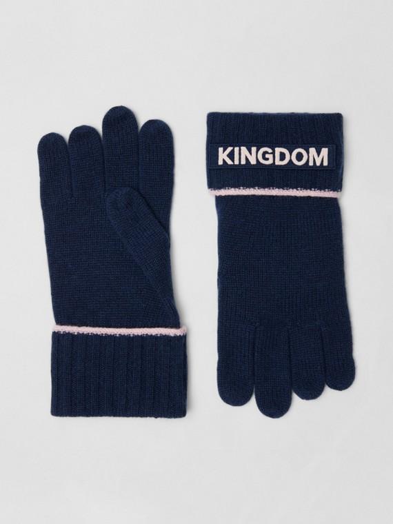 """Handschuhe aus Kaschmir mit """"Kingdom""""-Schriftzug und Logo-Applikation (Marineblau)"""