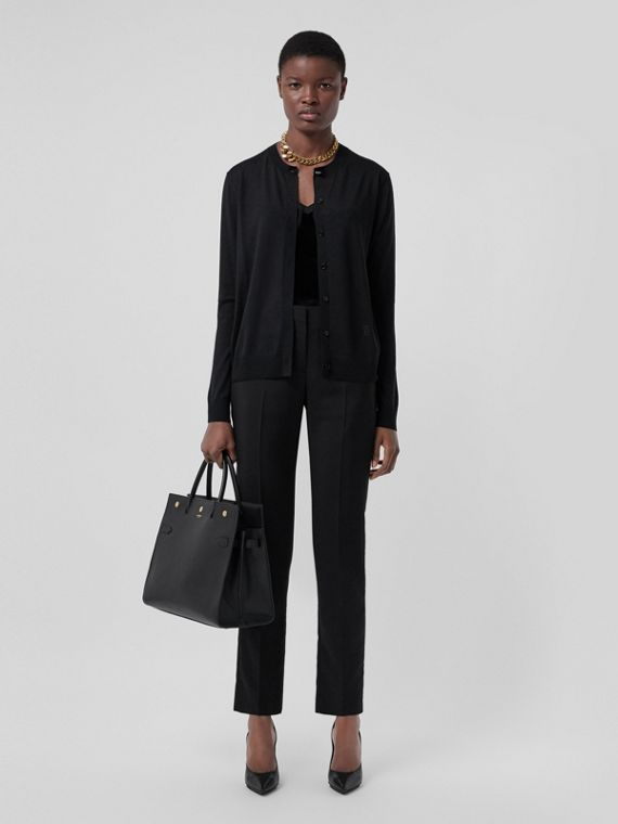 Monogram Motif Wool Silk Cashmere Cardigan in Black