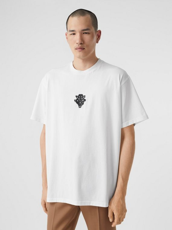 Elephant Graphic Print Cotton T-shirt in White