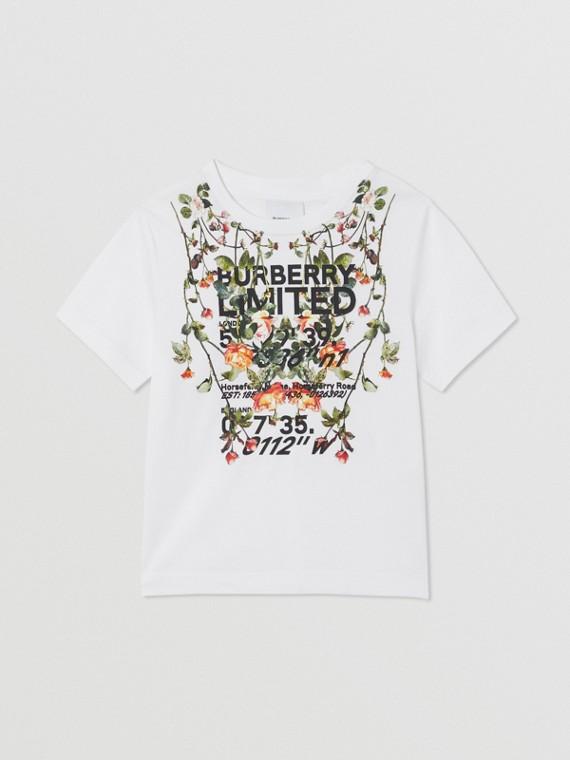 剪輯印花棉質 T 恤 (白色)