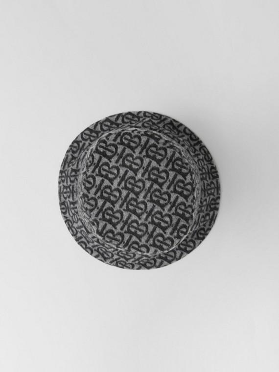 Fischerhut aus Wolle und Kaschmir mit Jacquard-gewebtem Monogrammmuster (Hellgrau)