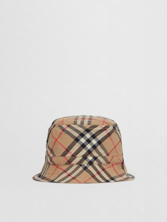 Vintage 格紋科技棉質漁夫帽 (典藏米色)