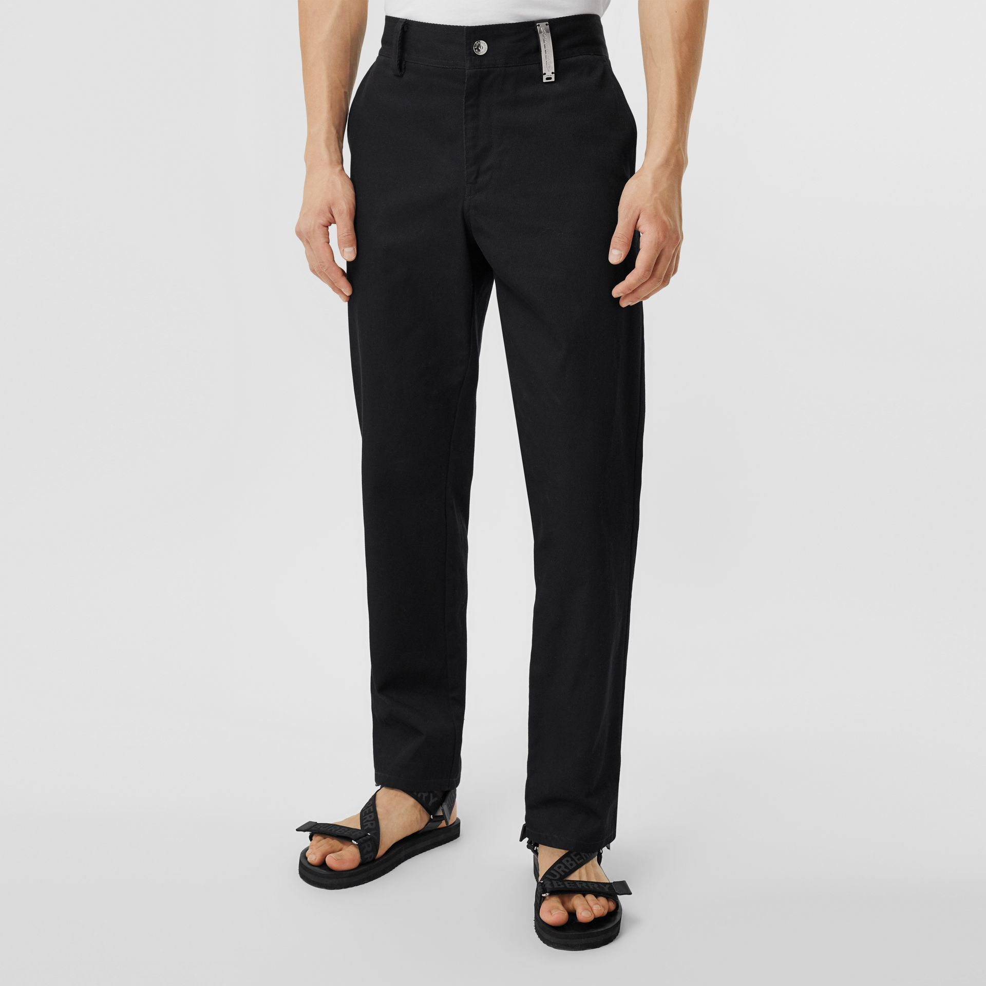 Straight Fit Logo Detail Cotton Chinos in Black - Men | Burberry Canada - gallery image 5