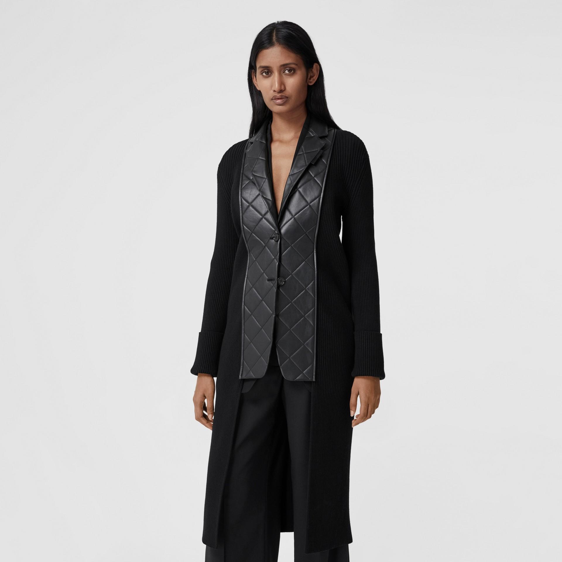 Lambskin Blazer Panel Rib Knit Wool Cardigan in Black - Women | Burberry - gallery image 4