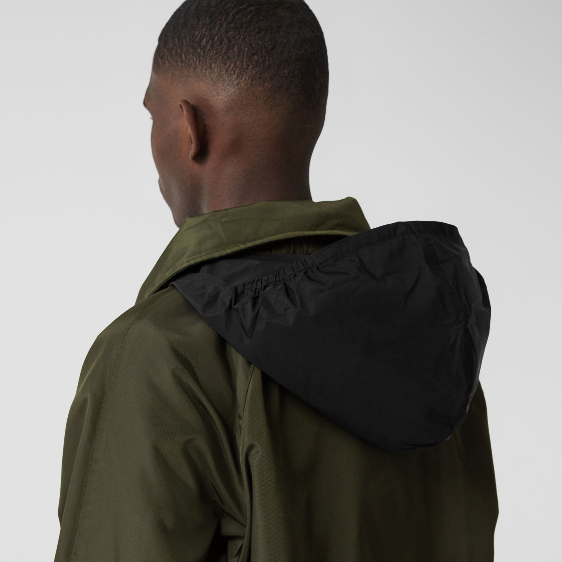 Packaway Hood Logo Tape Nylon Canvas Parka in Dark Olive - Men | Burberry - gallery image 6