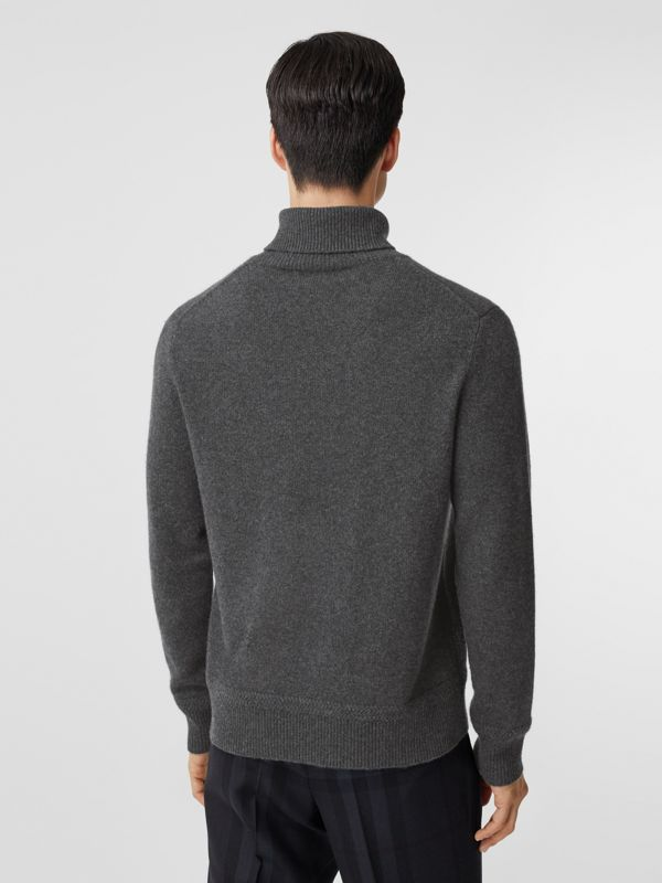 Monogram Motif Cashmere Roll-neck Sweater in Charcoal - Men | Burberry - cell image 2