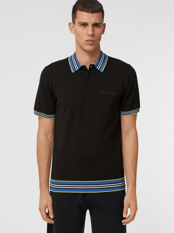 Icon Stripe Detail Merino Wool Polo Shirt in Black