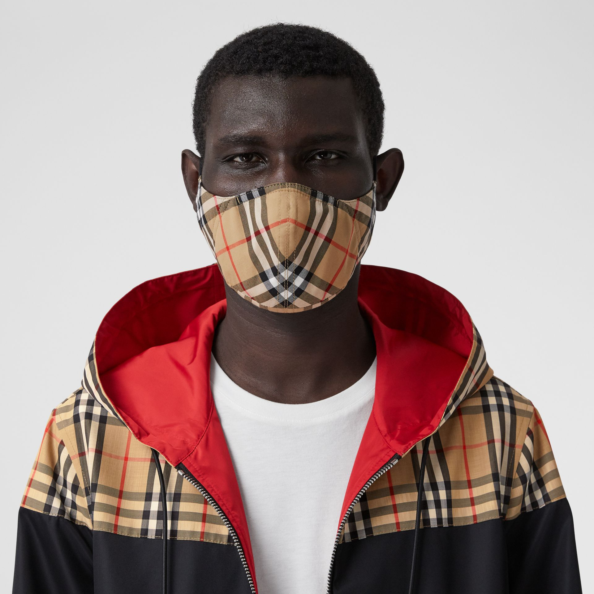 Vintage Check Cotton Face Mask in Antique Yellow | Burberry - gallery image 3