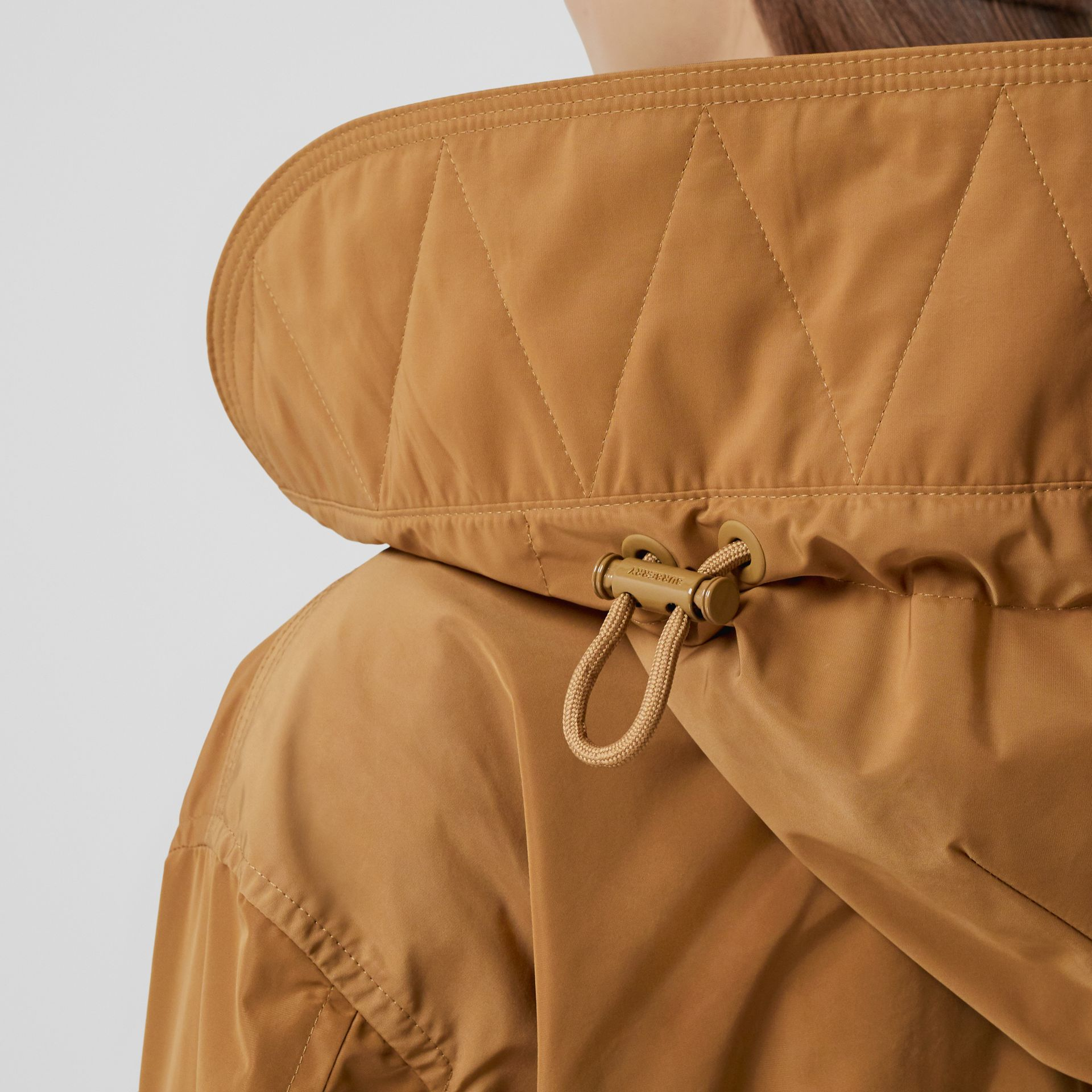 Detachable Hood Shape-memory Taffeta Parka in Camel - Women | Burberry - gallery image 4