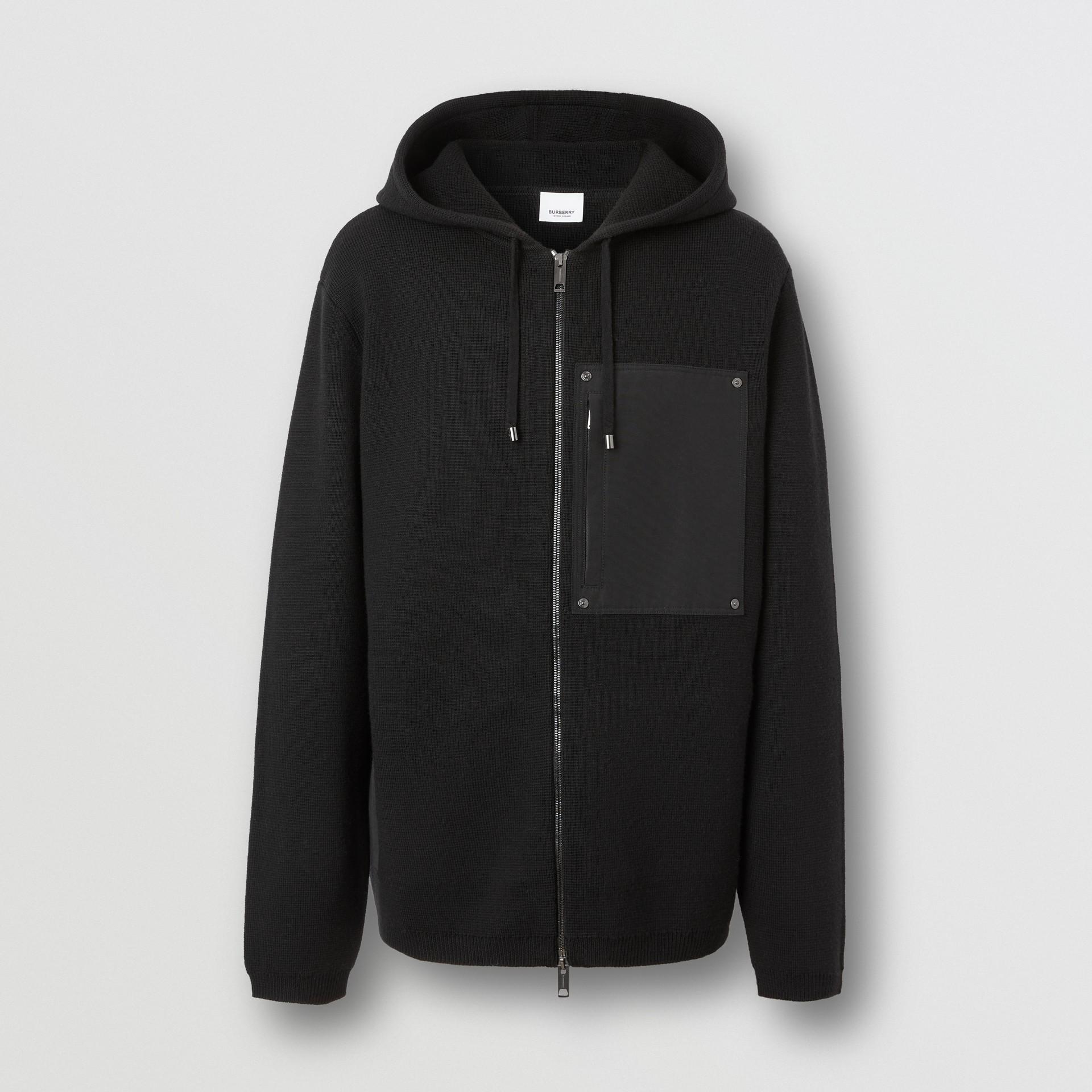 Contrast Pocket Wool Hooded Top in Black - Men | Burberry - gallery image 3