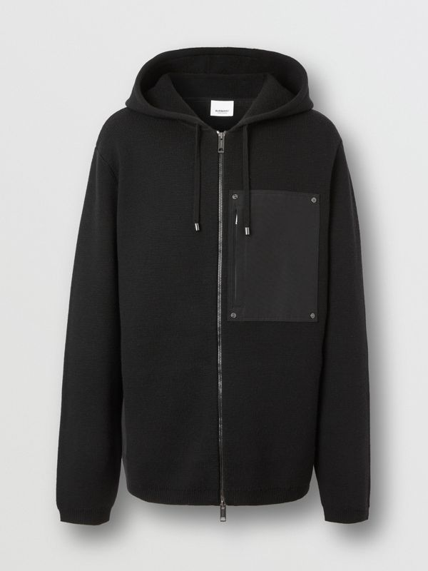 Contrast Pocket Wool Hooded Top in Black - Men | Burberry - cell image 3