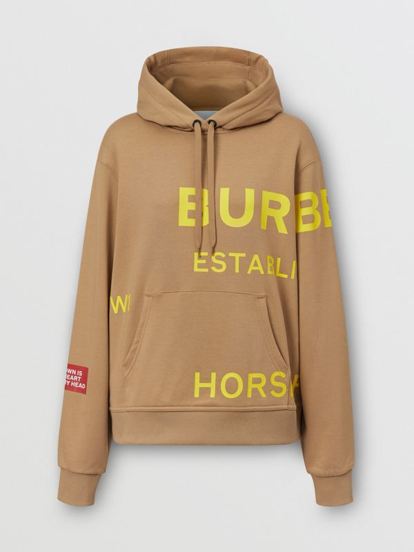 Horseferry Print Cotton Oversized Hoodie in Archive Beige | Burberry United Kingdom - cell image 3