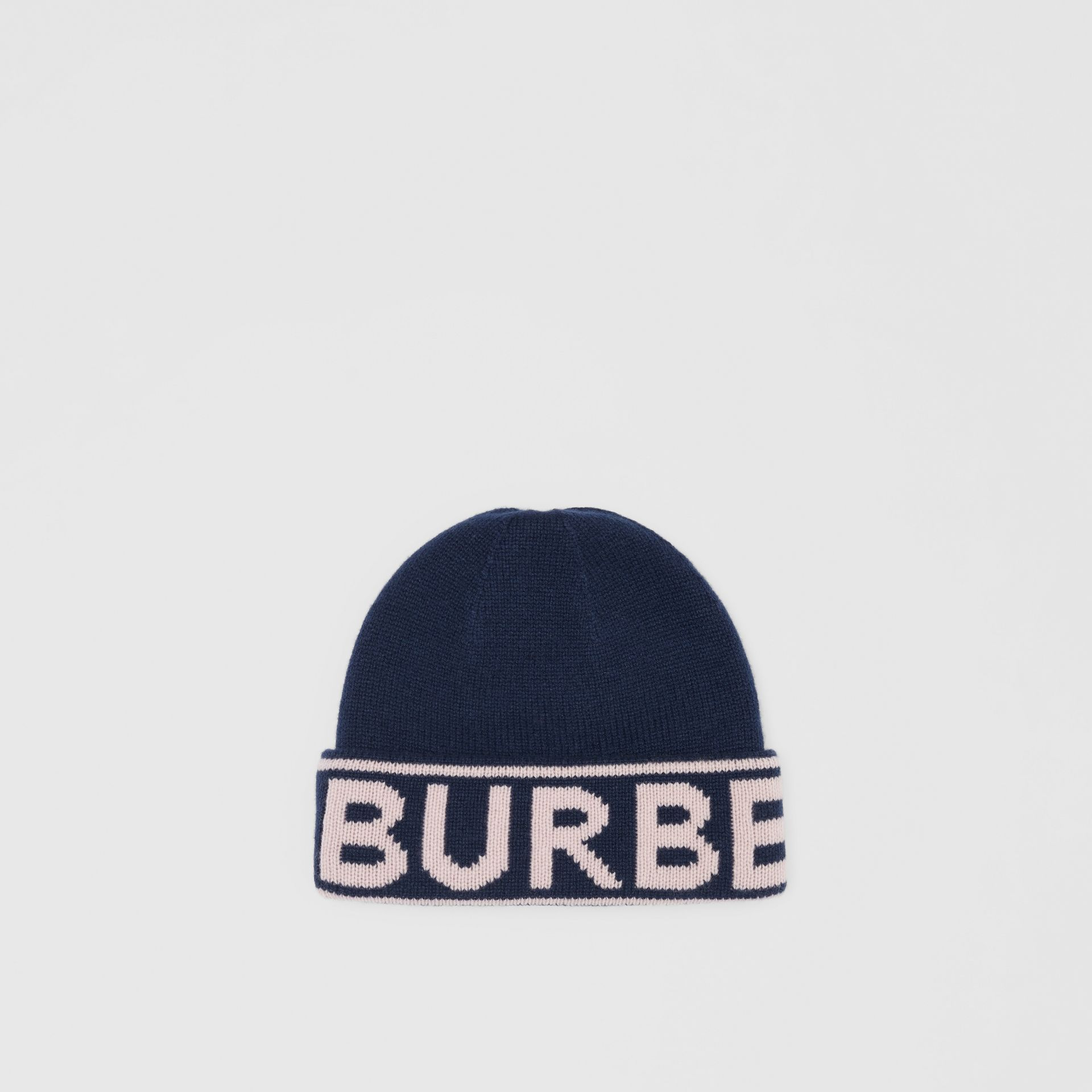 Logo Intarsia Cashmere Beanie in Navy | Burberry Canada - gallery image 0