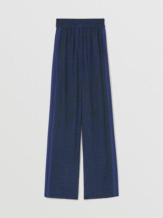 Pantaloni a gamba larga in seta con stampa monogramma a righe (Blu Reale Scuro)