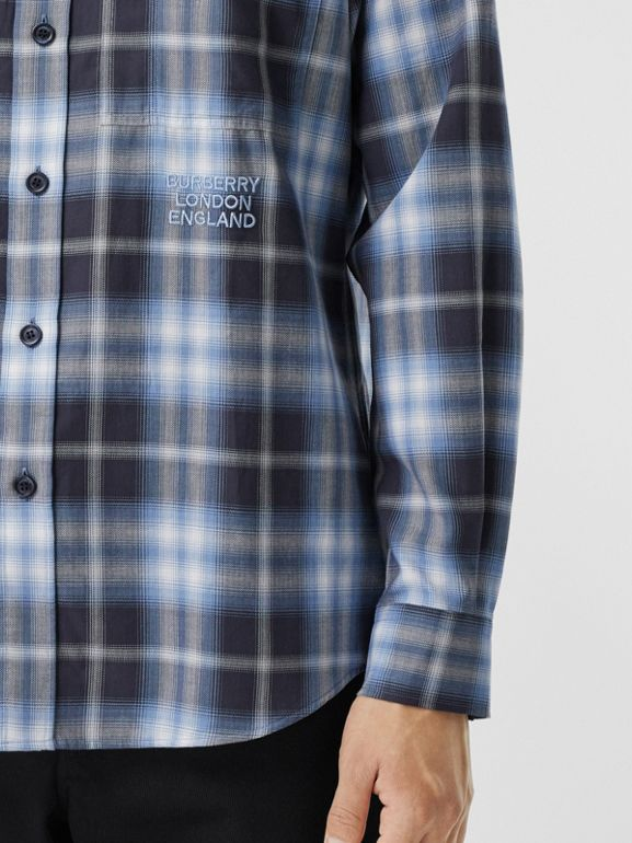 Embroidered Logo Ombré Check Cotton Shirt in Navy - Men | Burberry - cell image 1