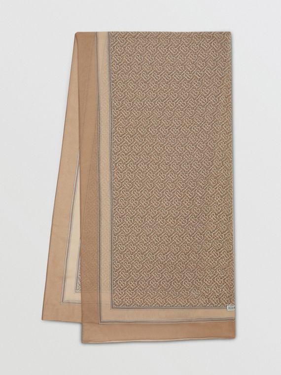 Monogram Print Silk Chiffon Scarf
