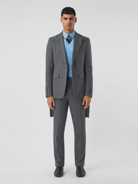 Panel Detail Wool Ramie Tailored Jacket in Tempest Grey