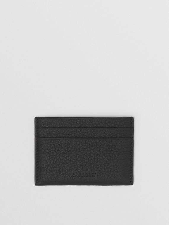 Grainy Leather Card Case in Black