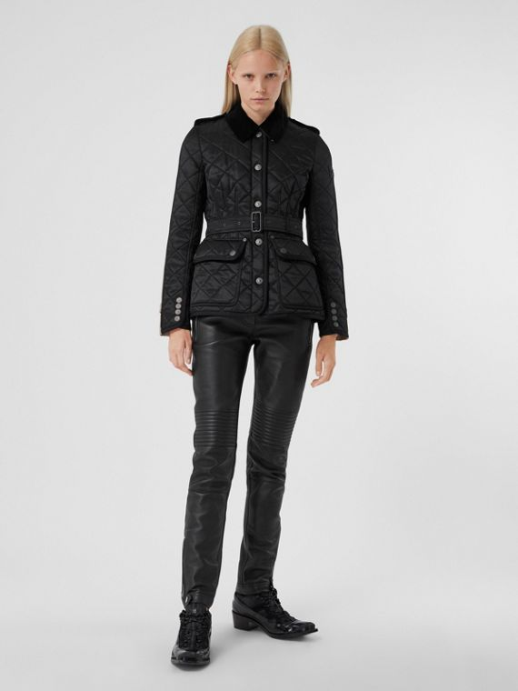 Cotton Gabardine Panel Diamond Quilted Jacket in Black