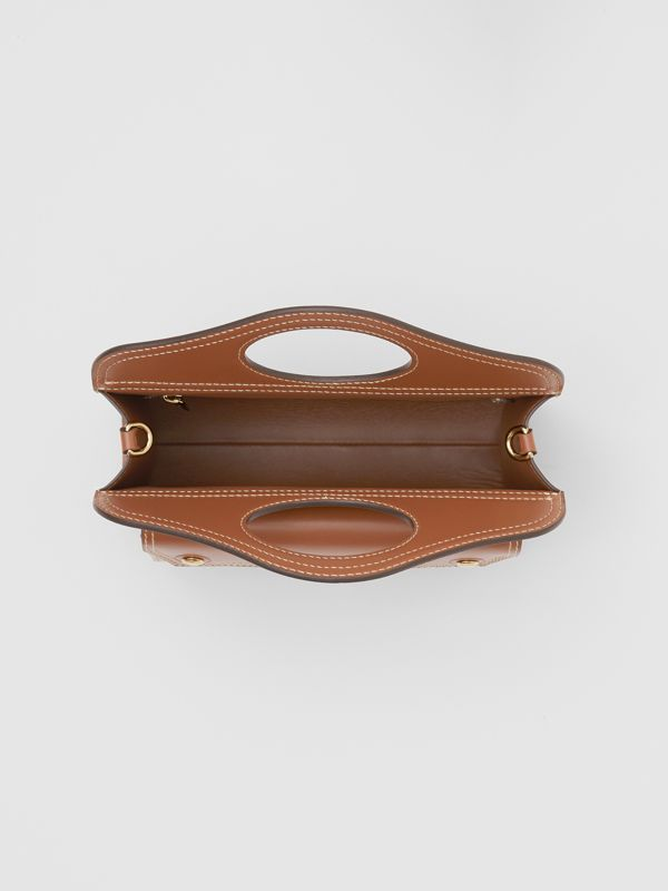 Medium Topstitch Detail Leather Pocket Bag in Malt Brown - Women | Burberry - cell image 3
