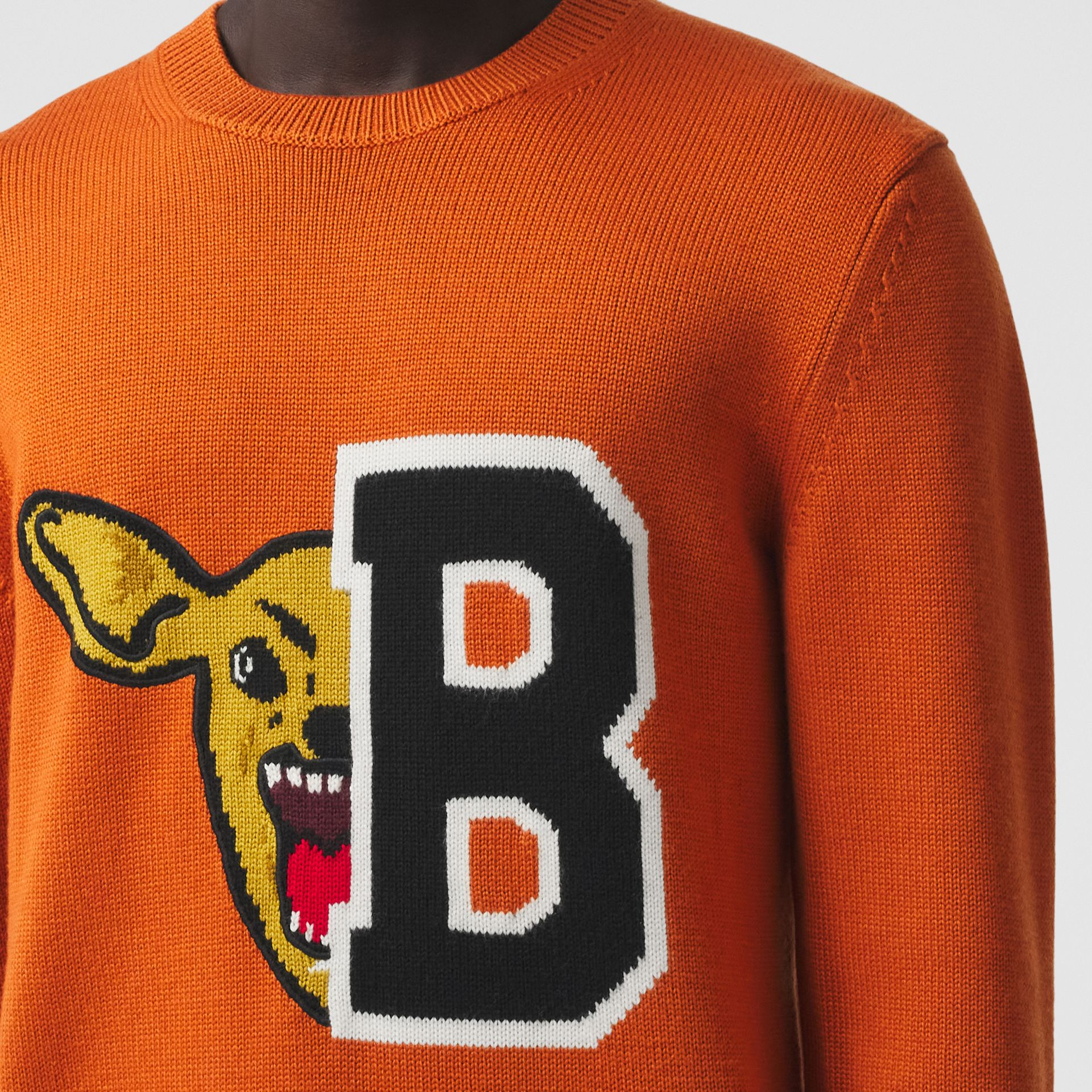 Varsity Graphic Merino Wool Jacquard Sweater in Burnt Orange - Men   Burberry - gallery image 1