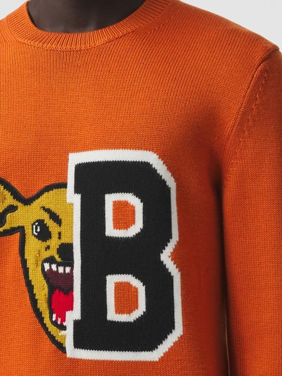 Varsity Graphic Merino Wool Jacquard Sweater in Burnt Orange - Men | Burberry - cell image 1