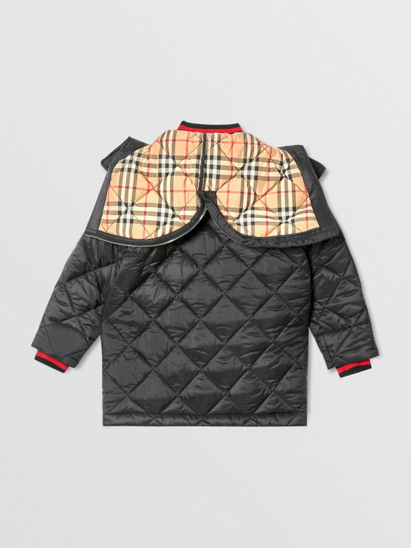 Detachable Hood Logo Detail Diamond Quilted Coat | Burberry United Kingdom - cell image 3