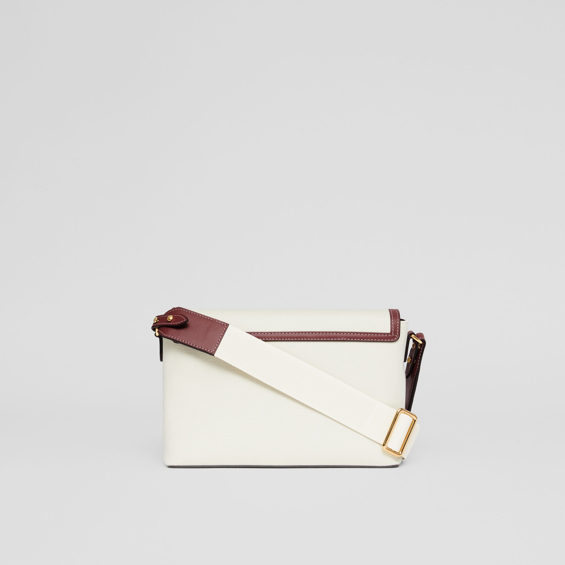 Horseferry Print Canvas Note Crossbody Bag in Natural/garnet - Women | Burberry Canada - gallery image 7