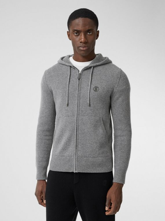 Monogram Motif Cashmere Blend Hooded Top in Mid Grey Melange