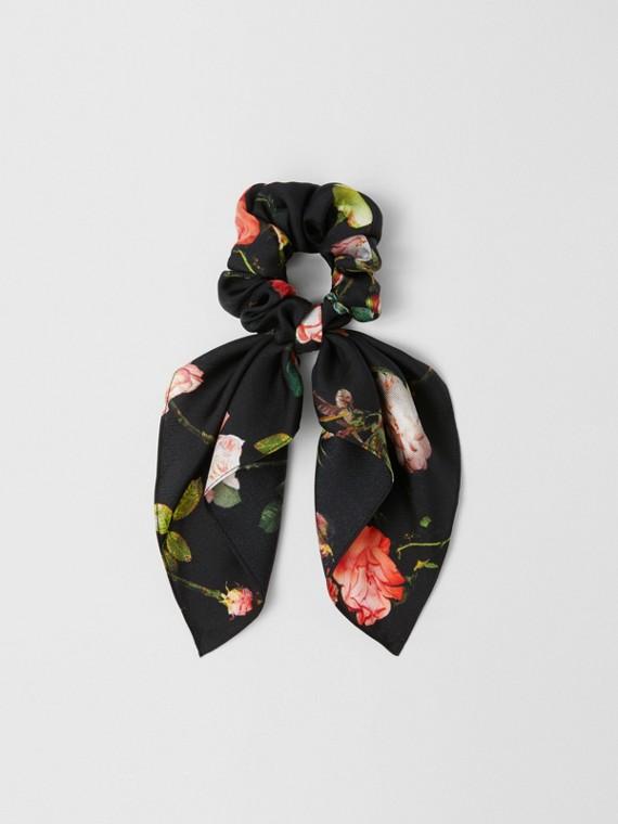 玫瑰印花絲綢斜紋布髮帶 (多色)