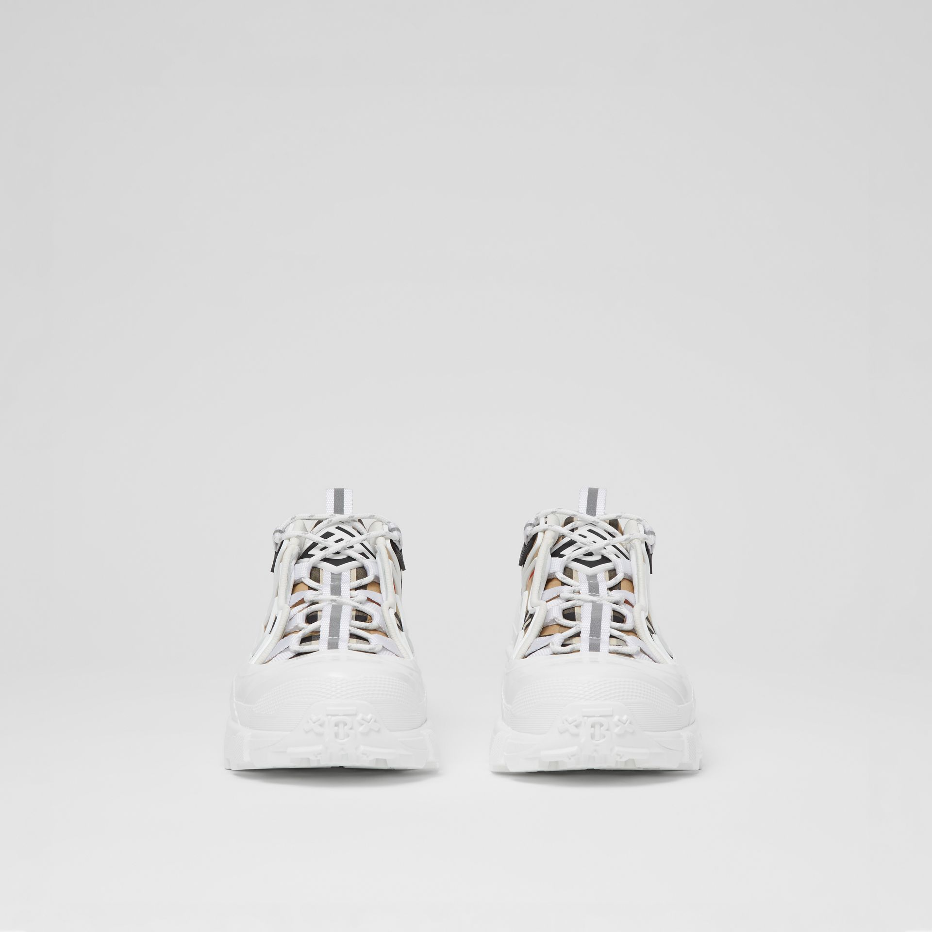 Vintage Check Cotton And Leather Arthur Sneakers in Archive Beige/white | Burberry - gallery image 3
