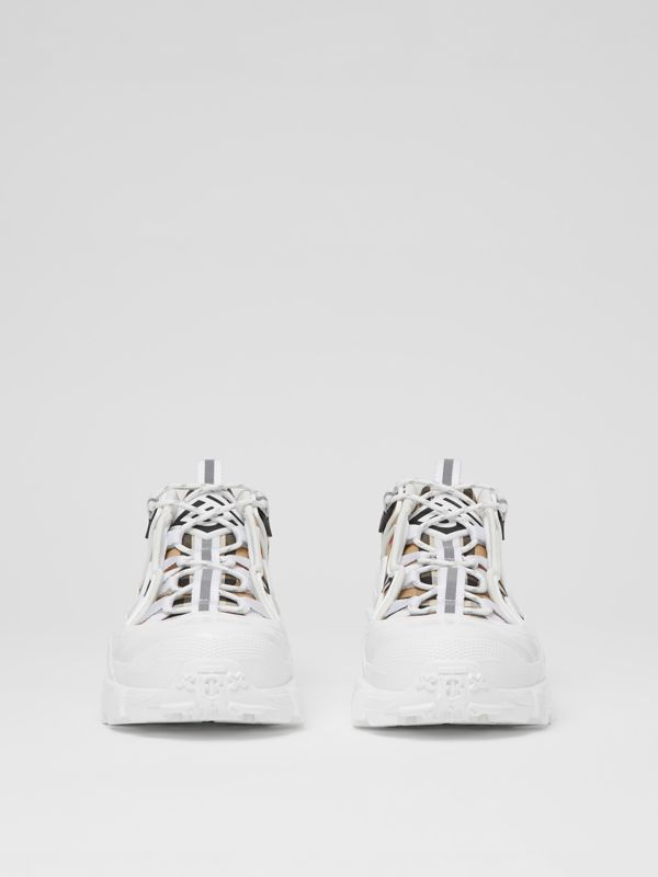 Vintage Check Cotton And Leather Arthur Sneakers in Archive Beige/white | Burberry - cell image 3