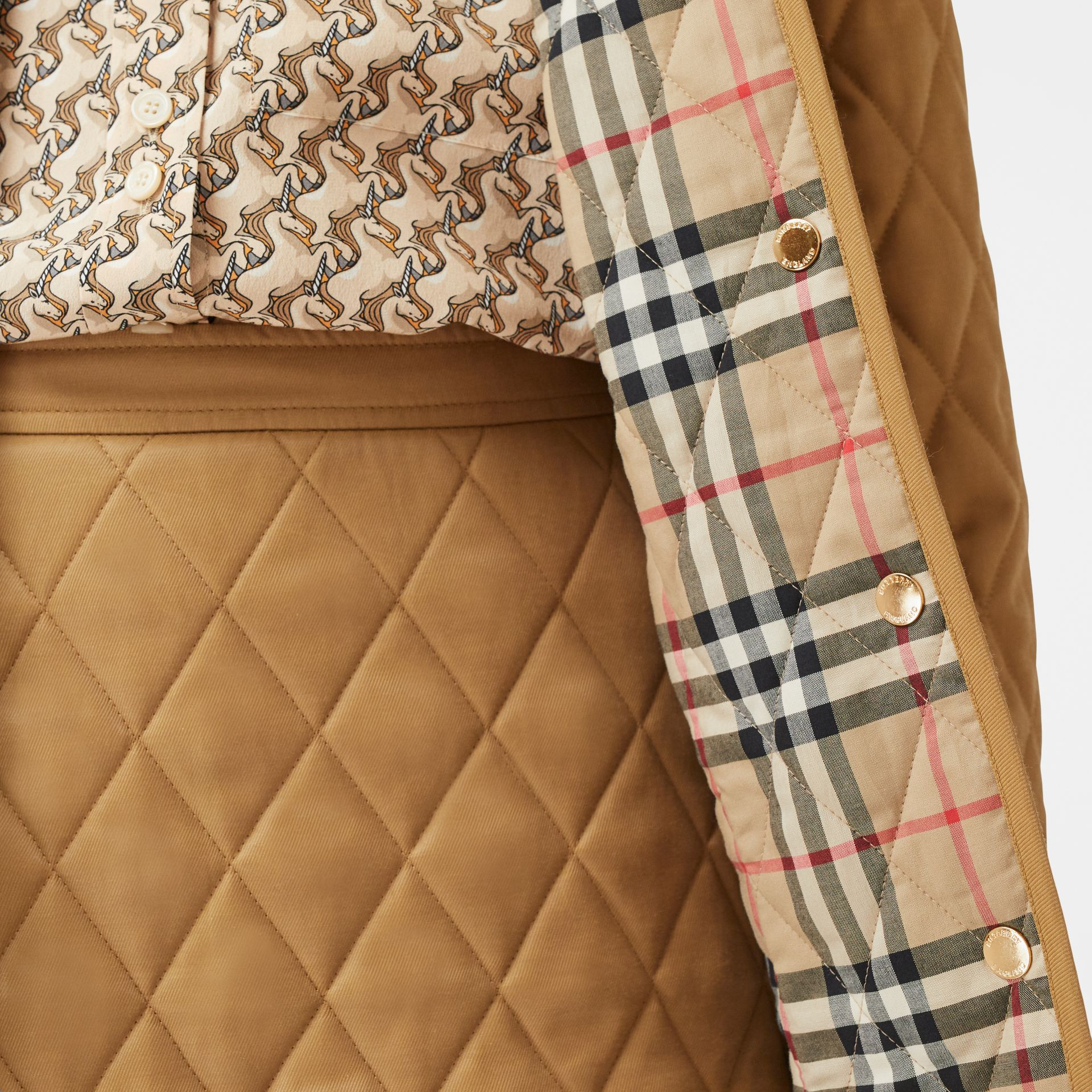 Corduroy Collar Diamond Quilted Jacket in Camel - Women | Burberry - gallery image 4