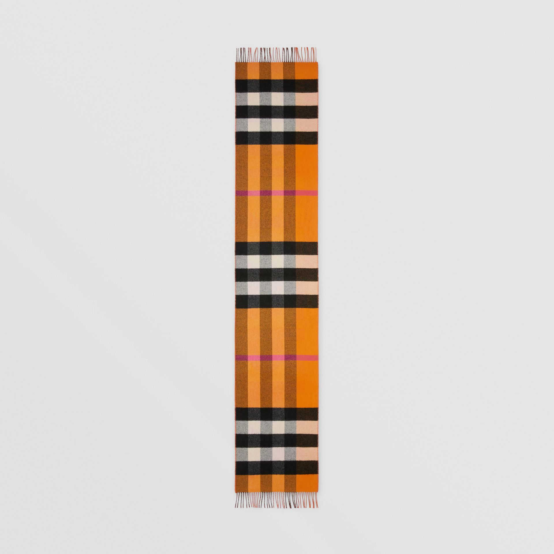 Reversible Check and Logo Cashmere Scarf in Orange | Burberry - gallery image 8