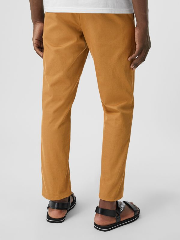Straight Fit Logo Detail Cotton Chinos in Camel - Men | Burberry - cell image 2