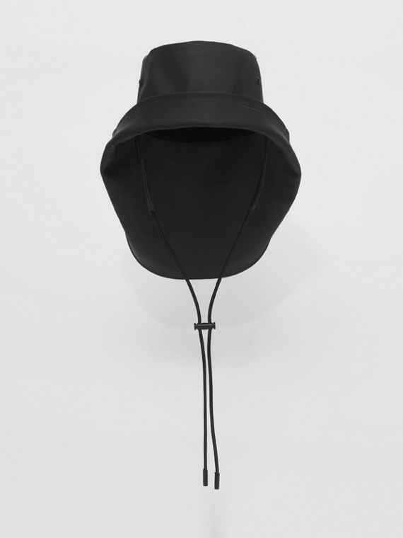 Topstitched Rubberised Cotton Fisherman Hat in Black