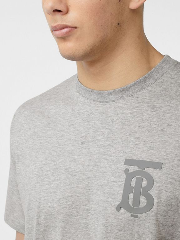 Monogram Motif Cotton Oversized T-shirt in Pale Grey Melange - Men | Burberry - cell image 1