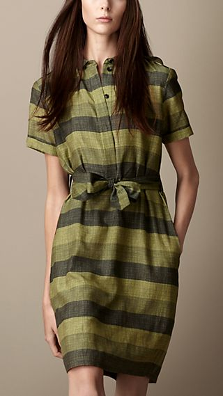 Striped Cotton Silk Shirt Dress