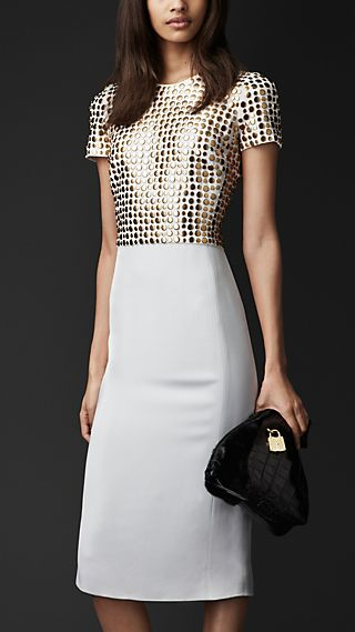 Studded Bodice Crêpe Dress