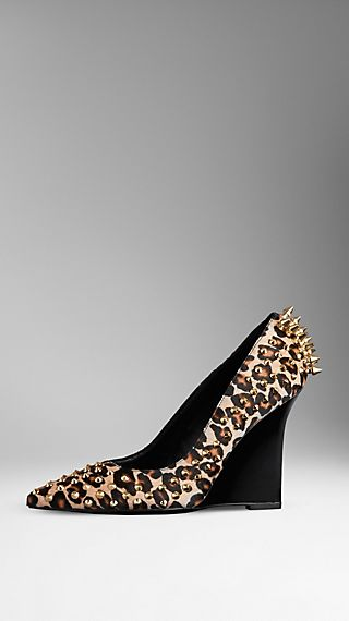 Studded Animal Print Wedge Pumps
