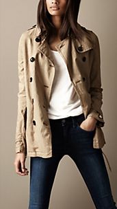 Short Cotton Linen Trench Coat