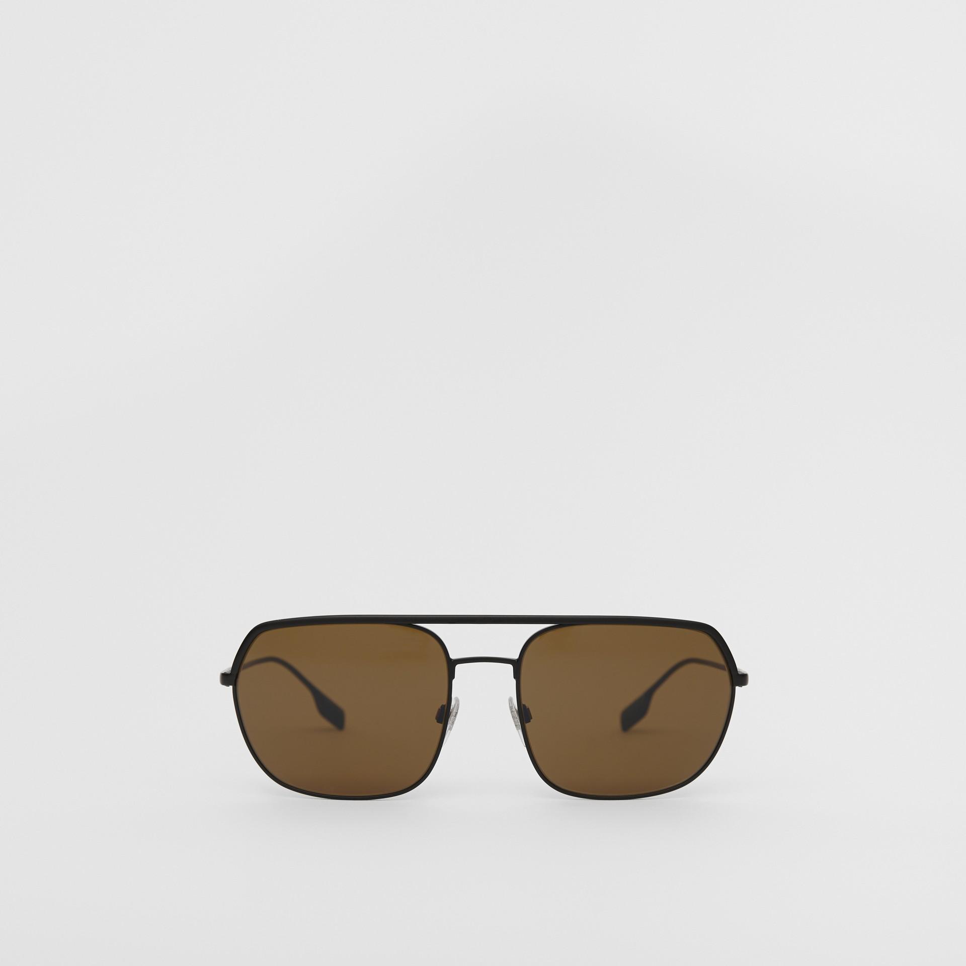 Óculos de sol com armação aviador quadrada - Homens | Burberry - galeria de imagens 0