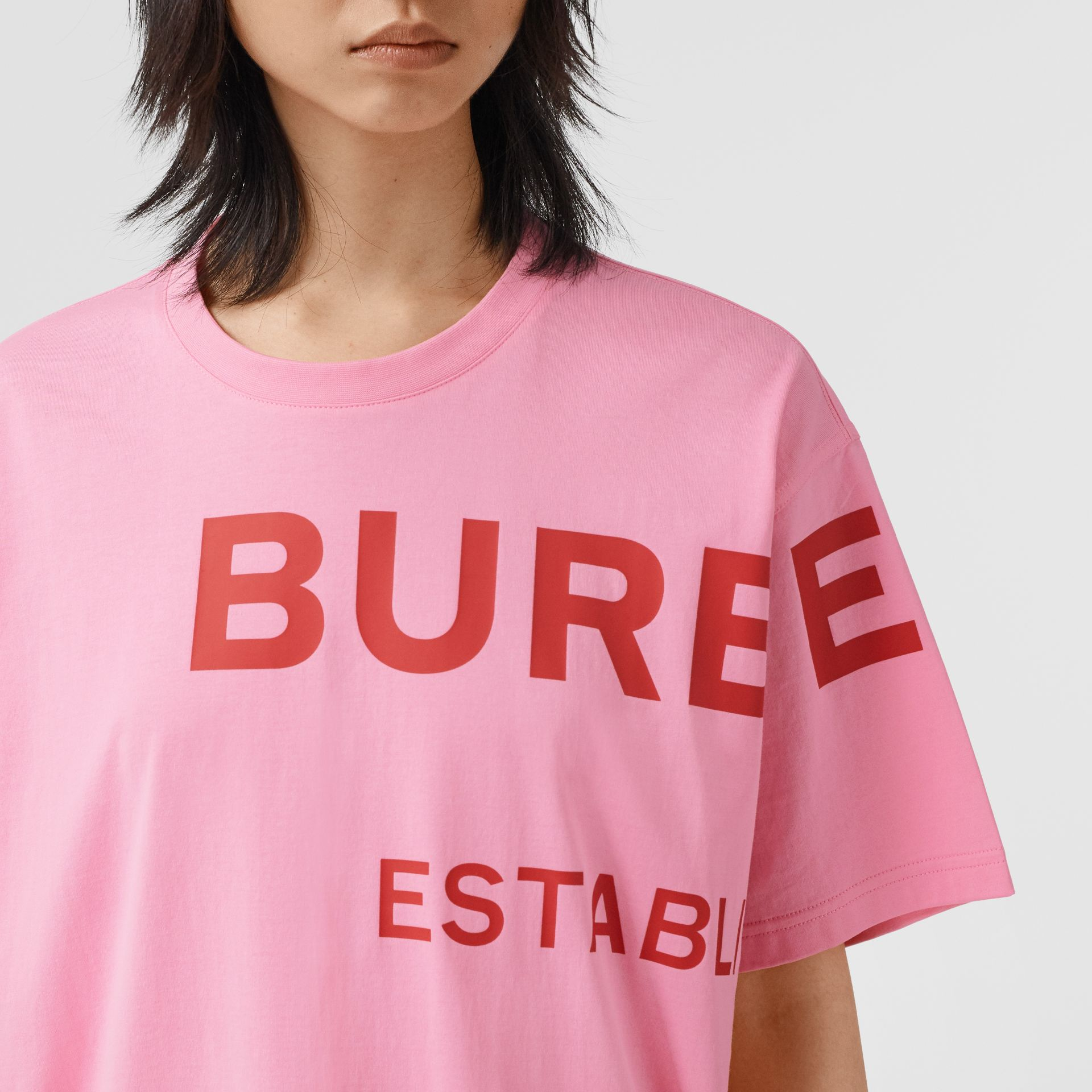 Horseferry Print Cotton Oversized T-shirt in Bubblegum Pink | Burberry - gallery image 1